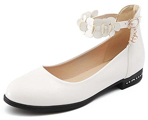 Idifu Womens Mode Cheville Sangle Fleurs Bout Rond Bas Chunky Talon Pompes Chaussures Blanc