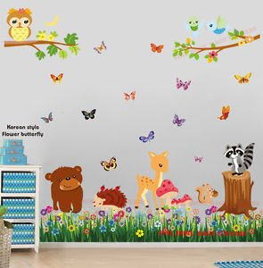 Lovely New Huge Woodland Animals Butterfly Grass Wall Stickers Baby Nursery Kids  Decal Art By Prathai Pictures Gallery