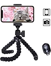 Cypin Flexible Phone Tripod with Wireless Selfie Remote Shutter, Portable and Adjustable Phone Tripod Stand with Universial Phone Clip, Mini Tripod Stand Holder Compatible with iPhone/Android Samsung