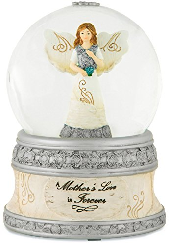 Pavilion Gift Company Elements 82329 100mm Musical Water Globe with Angel Figurine, A Mother's Love, (Water Globe Ornament)