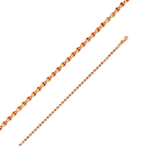 14k Rose Gold 2mm 14k Rose Gold Hollow Curve Mirror Chain Necklace (14k Chain Curves)