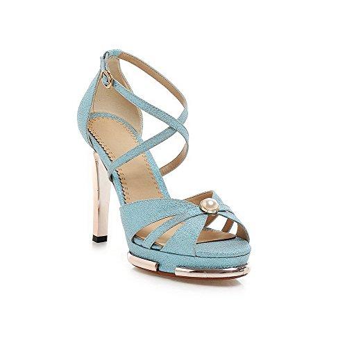 AmoonyFashion Womens Spikes Stilettos Soft Material Solid Buckle Peep Toe Sandals Blue EXcYGazjA