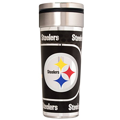 (NFL Pittsburgh Steelers Travel Tumbler with Metallic Graphics, 22-Ounce, Silver)