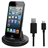 RND Apple Certified Lightning to USB dock for the iPhone (6/6 Plus/6S/6S Plus/5/5S/5C) or iPod Touch Data Sync and Charge 8-Pin Dock. Compatible with some phone cases. (Black)