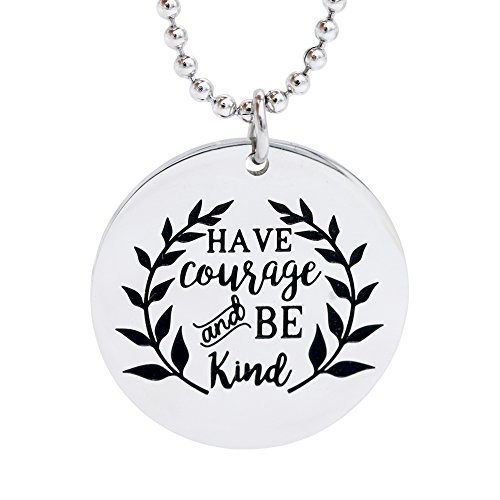 Melix Home HAVE COURAGE AND BE KIND Necklace Dog Tag (White)
