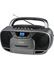 JENSEN CD-590-GR Portable Bluetooth Stereo MP3 CD Cassette Player/Recorder with AM/FM Radio