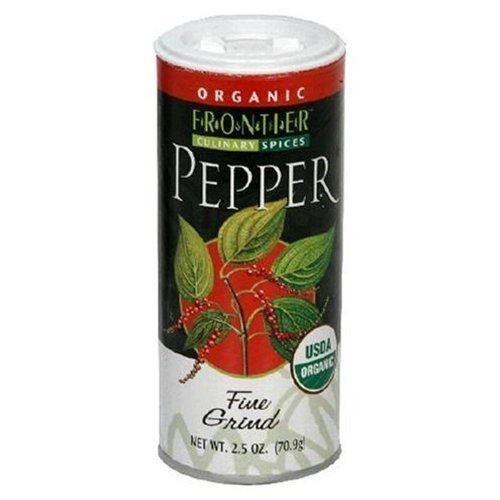 Frontier Certified Organic Black Pepper Fine Grind 2.5 OZ (Pack of 2) by Frontier