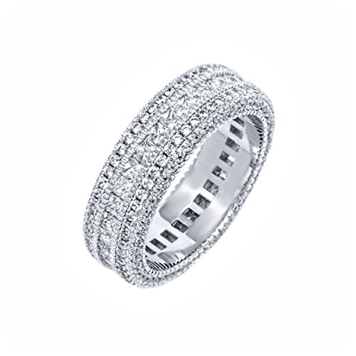- White Gold Plated & CZ French-Cut Eternity Band (6)
