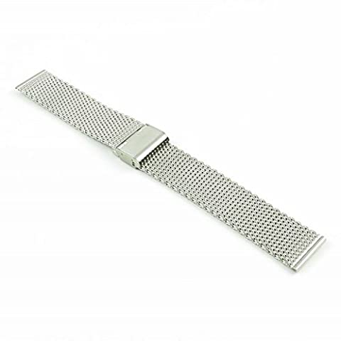 StrapsCo Mesh Stainless Steel Adjustable Clasp Watch Band (22mm Mesh Watchband)