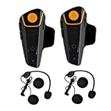 Motorcycle Intercom Headset, BT-S2 1000M FM Radio Bluetooth Headphone Communication System Intercom Interphone for Riding&Skiing AUX 2.5mm audio cable (Dual)