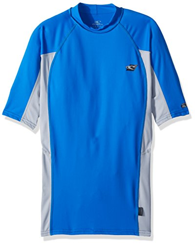 O'Neill Men's Premium Skins Upf 50+ Short Sleeve Rash Guard, Ocean/Grey/Ocean, XX-Large (Guard Rash Shirts Oneill)