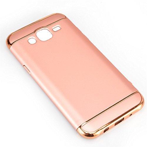 Samsung Galaxy J5 2015 Funda, Vandot Hybrid Diseño 3 en 1 Cáscara Dura de la PC Recubrimiento Metálico Marco Chapado Matte de Lujo Hard Caja de Telefono Duro Protección Cubierta Case Cover para Samsun Hybrida Rosa