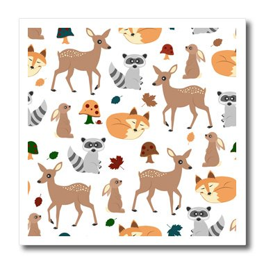 3D Rose Woodland Animals Pattern-Fawn Fox Raccoon Rabbit Iron on Heat Transfer, 6 x 6