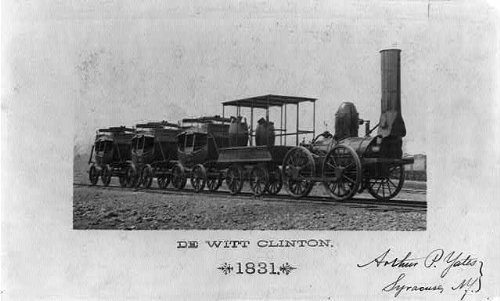 Dewitt Clinton Railroad (1893 Photo De Witt Clinton Locomotive and 4 railroad cars, built in 1831, N.Y. Central Hudson River R.R.)