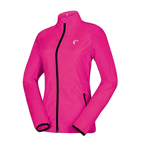 J.CARP Women's Packable Windbreaker Jacket, Super Lightweight and Visible, Outdoor Active Cycling Running Skin Coat, Rose Red XL