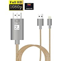 iPhone to HDMI, LightTheBo Lightning to HDMI, 1080P Digital AV Adapter HDTV/TV Cable 6.5ft for iPhone iPad iPod Touch (Compatible IOS 11, iPhone X, Plug and Play) (Gold)