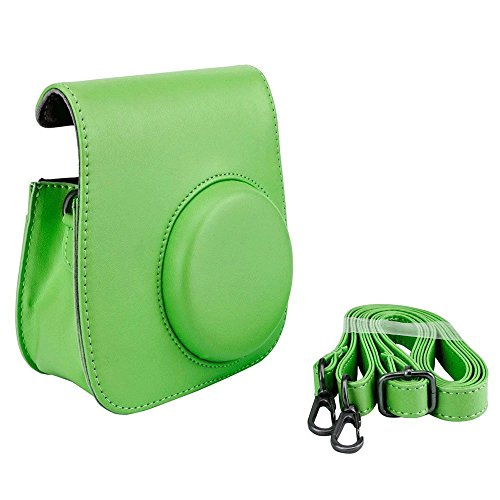 Groovy Case for Fuji Instax Mini Camera + Detachable Leather Shoulder Strap - Snap Closure - Top Item! (Lime Green)