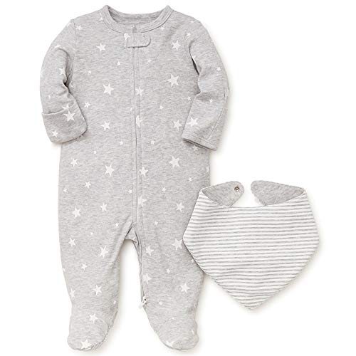 (Little Me Star Footie and Bib Grey - Newborn)