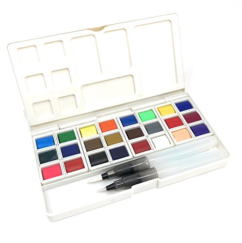 AVELLIM Watercolor Portable Paint Set, 24 Lightfast Vibrant Colors, for Artists, Beginners, Kids - Includes Two Refillable Water Brushes and Mixing Palette. by AVELLIM