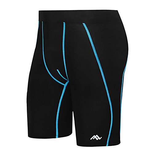 Gomnear Compression Shorts Men With Pocket Base Layer Tights For Workouts, Weightlifting, Running, Training, Cycling All Weather Black Blue XL