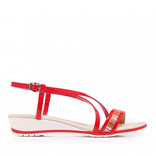 Eva López E5011007 Sandalias Con Tiras Cruzadas de Piel Rojo Red AfarTsF