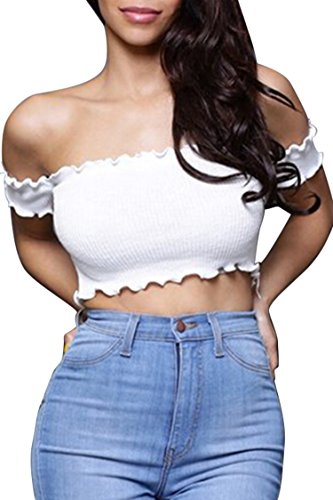 Women's Sexy Off Shoulder Ruffle Crop Top Short Sleeve Ribbed Bustier Bandeaux S White ()