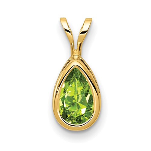 ICE CARATS 14kt Yellow Gold 8x5mm Pear Green Peridot Bezel Pendant Charm Necklace Gemstone Fine Jewelry Ideal Gifts For Women Gift Set From Heart