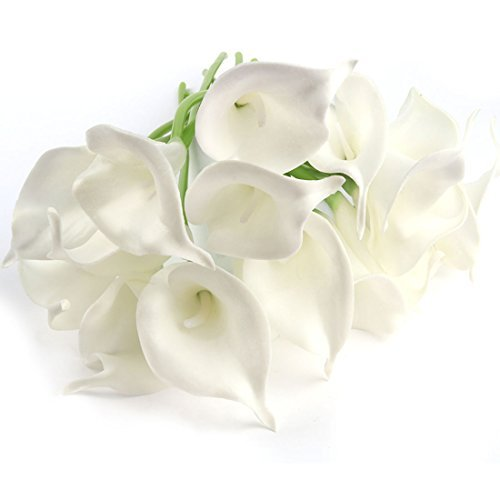DealMux Artificial Flowers,Calla Lily Artificial Flowers Bridal Wedding Bouquet Head PU Real Touch Flower Bouquets Pack of 20 (Pure White)