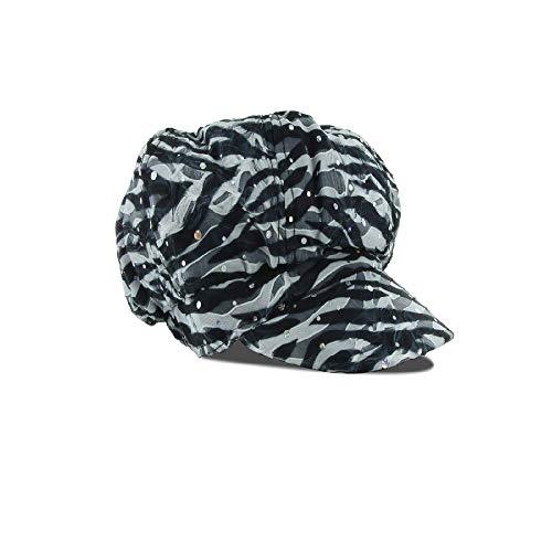 Zebra Newsboy - Rhinestone Newsboy Ivy Cap Women Hat Zebra