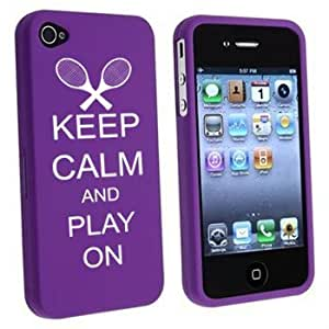 Apple iPhone 4 4S Purple Rubber Hard Case Snap on 2 piece Keep Calm and Play On Tennis