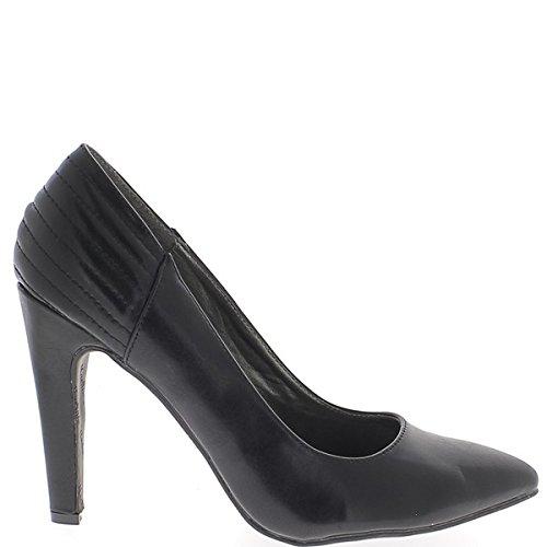 Tamaño grande de zapatos agudo tacón 12 cm negro