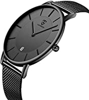 Mens Watches Ultra Thin Simple Casual Fashion Analog Quartz Date Display Waterproof Wrist Watch Stainless Steel Mesh Band...
