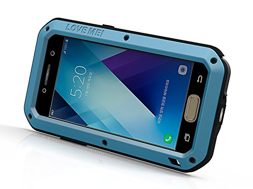Samsung A3 2017 Funda, Love Mei Extreme Alta Resistencia Protector Shockproof Military Heavy Duty Carcasa con cristal de gorila para Samsung Galaxy A520 A5 2017 Version (plata) rojo