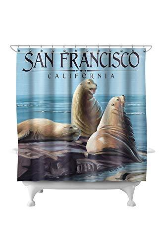 Lantern Press San Francisco, California - Sea Lions 74596 (74x74 Polyester Shower Curtain)