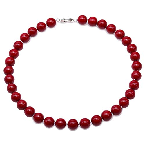 (JYX Pearl South Sea Shell Pearl Necklace 10mm Wine Red Round Shell Beads Single Strand Jewelry for Women 18'')