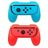 2 Pack Nintendo Switch Grip Kits [Wear-Resistant] Joy-Con Grips Thumb Grips Handle Protect Case by YONTEX (Blue and Red)