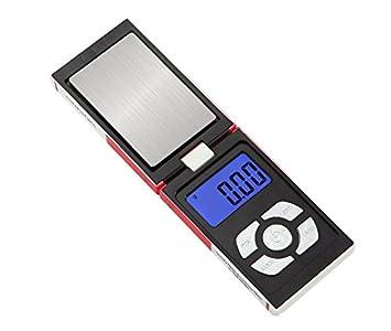 CGOLDENWALL Precisión Mini joyería Escala Cigarrillo Estilo Plegable Báscula Electrónica Portátil Carat Balance Digital Mini Escala 0,01 g/0,1 g Té Oro ...