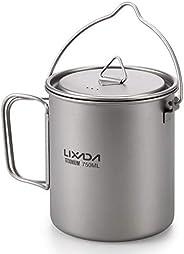 Decoe Lightweight Titanium 3 Pieces Set Titanium 750ml Pot 420ml Water Cup Mug with Lid Collapsible Handle Fol