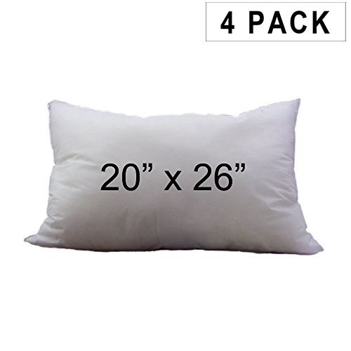 Pillow Insert 20 x 26 100% Polyester Fill Standard Shell Rectangular Lumbar (4 Pack) Hometex