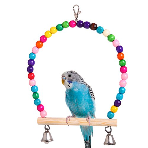 QBLEEV Wooden Bird Swings Toy with Hanging Bells for Cockatiels Parakeets, Cage Accessories Decorating Birdcage or Wood Parrot Perch Stand Play Gym for Small Medium Budgies Finches Conures ()