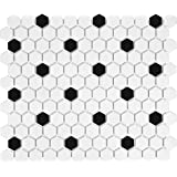 8.15 Sq Ft Box - 1 Inch Black and White Ceramic Hexagon Mosaic Tiles