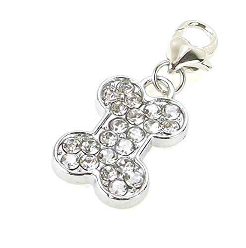Rhinestone Clip On Dangle Charms for Link Chain Charm Bracelet Necklace (Dog -
