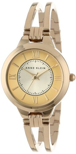 Ak Anne Klein Womens A Day (Anne Klein Women's AK/1440CHGB Everyday Classics Gold-Tone Open Bangle Watch)