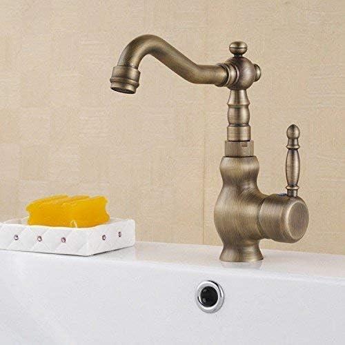 Zxyan 蛇口 立体水栓 バスルームのシンクの蛇口洗面器のミキサータップアンティーク高い真鍮温水と冷水洗面シンクタップ浴室バーの蛇口 トイレ/キッチン用