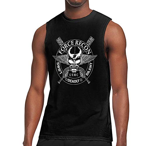 (Men's United States Marine Corps Force Recon Yoga Tank Top T-Shirt Muscle Tank Top Shirt)