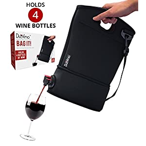 Wine Purse Tote + 2 Disposable Wine Baggies - Holds Up to 4 Bottles- Wine to Go Made Easy!- Neoprene BYOB Insulated Beverage Carrier with Spout - Gift for Mom, Women, Friends or Her