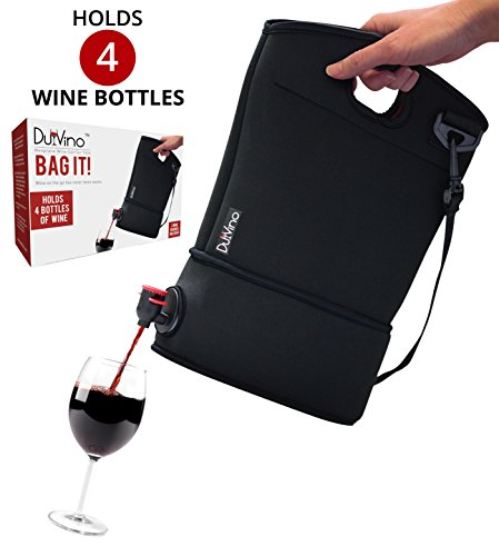 Wine Purse Tote + 2 Disposable Wine Baggies - Holds Up to 4 Bottles- Wine to Go Made Easy!- Neoprene BYOB Insulated Beverage Carrier with Spout -Wine Lover's Gift for Mom, Women, Friends or Her