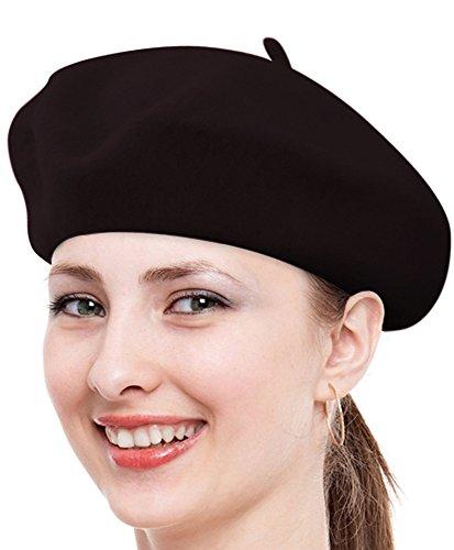 Ladies Solid Colored French Wool Beret (Dark Brown)