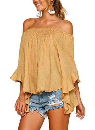 New Floral Women Off Shoulder Sexy Flare Sleeve Chiffon Casual Blouse Tops Mustard Yellow ()