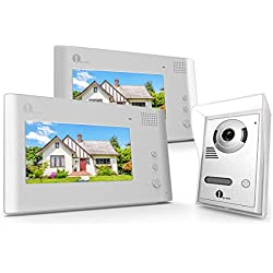 1byone Video Doorphone 2-Wires Video Intercom System 7-Inch Color Indoor Monitor and HD camera Outdoor Video doorbell With 49ft Cable, 2 Indoor Monitors + 1 Outdoor Video doorbell.